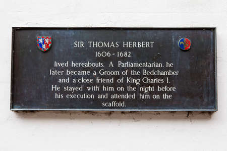 parliamentarian: A plaque detailing the location where Parliamentarian Sir Thomas Herbert lived in York, England.
