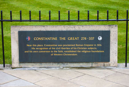 A plaque detailing where Constantine the Great was proclaimed Roman Emperor in York, England. Editorial