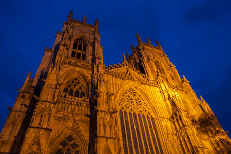 york minster: Looking up at the magnificent York Minster in the city of York, England.