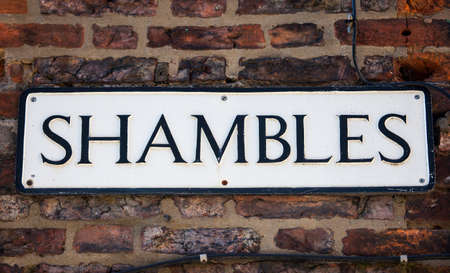 shambles: A street sign for The Shambles in York, England.