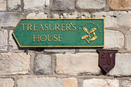treasurer: A sign for Treasurer's House in York, England.