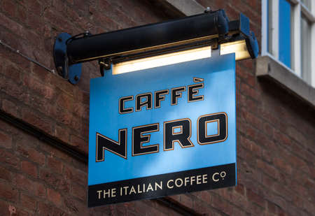 caffe: YORK, UK - AUGUST 26TH 2015:  A sign for a Caffe Nero's coffee house in York on the 26th August 2015.