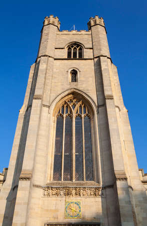 great britain: Looking up at the facade of the Church of St. Mary the Great in Cambridge, UK. Editorial