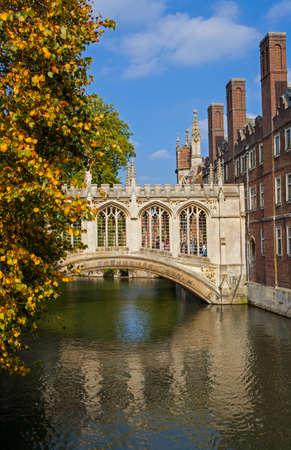 cambridgeshire: A view of the beautiful Bridge of Sighs in Cambridge, UK.