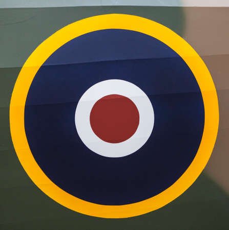 royal air force: A close-up of the Royal Air Force roundel symbol on an Aircraft.