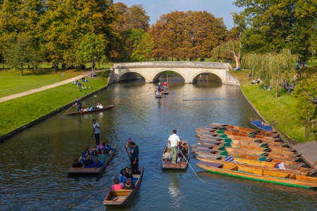 A view over the River Cam in Cambridge looking towards Trinity Bridge.