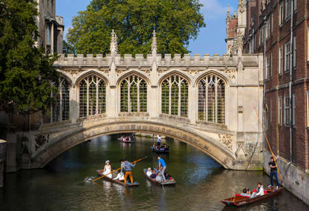 CAMBRIDGE, UK - OCTOBER 4TH 2015: A view of the beautiful Bridge of Sighs in Cambridge, on 4th October 2015.