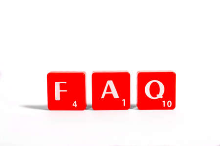 enquire: FAQ, an abbreviation for Frequently Asked Questions, spelt out with red lettered tiles over a white background.