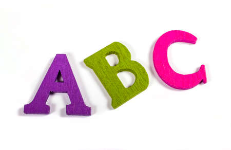 coloured: A, B, C spelt out using bright coloured letters over a white background.