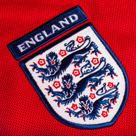 wembley: LONDON, UK - OCTOBER 19TH 2015: The Three Lions on an England football shirt, on 19th October 2015. Editorial