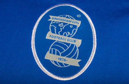 premiership: LONDON, UK - OCTOBER 19TH 2015: The club crest on a Birmingham City FC shirt, on 19th October 2015.