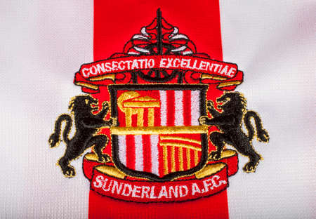 strip club: LONDON, UK - OCTOBER 19TH 2015: The club crest on a Sunderland FC shirt, on 19th October 2015.