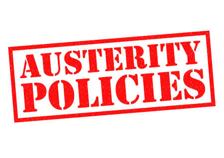 austerity: AUSTERITY POLICIES red Rubber Stamp over a white background.
