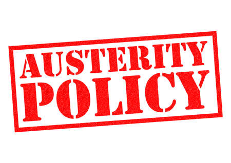 credit crunch: AUSTERITY POLICY red Rubber Stamp over a white background.
