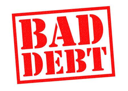 白地に不良債権の赤ゴム印。