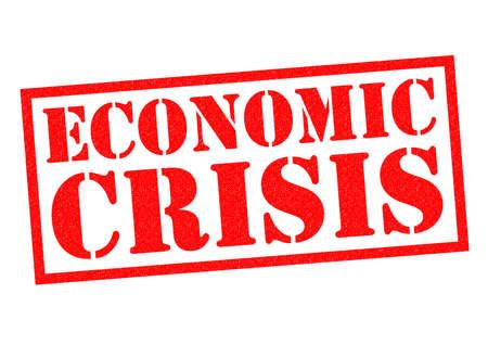 crisis economica: Goma roja CRISIS ECON�MICA sello sobre un fondo blanco.