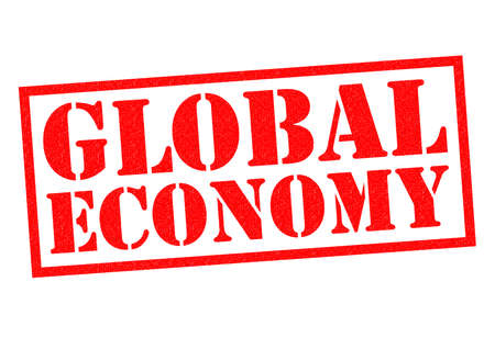 outgoings: GLOBAL ECONOMY red Rubber Stamp over a white background. Stock Photo