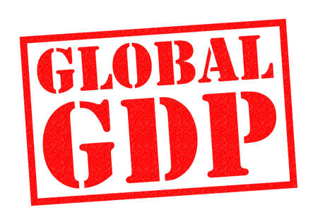 outgoings: GLOBAL GDP red Rubber Stamp over a white background.