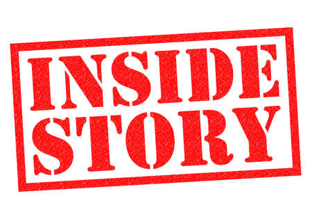 truthful: INSIDE STORY red Rubber Stamp over a white background.