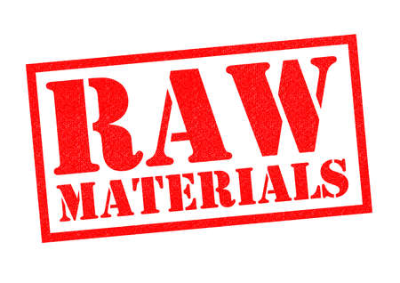 raw material: RAW MATERIALS red Rubber Stamp over a white background.