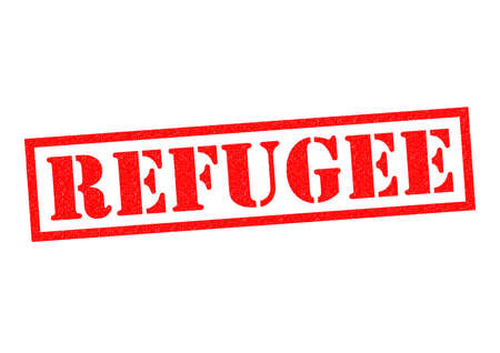 fleeing: REFUGEE red Rubber Stamp over a white background.
