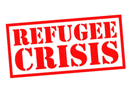 refugee: REFUGEE CRISIS red Rubber Stamp over a white background.