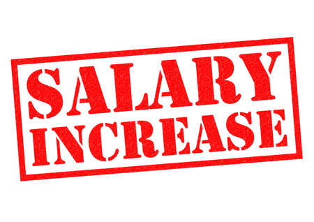 increases: SALARY INCREASE red Rubber Stamp over a white background.