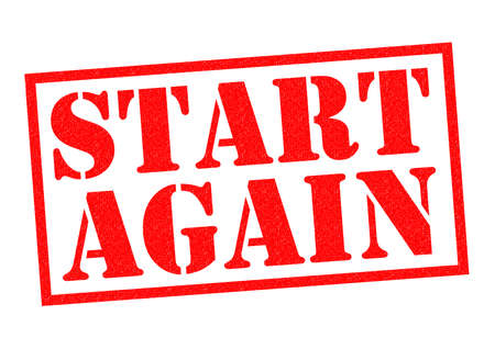 again: START AGAIN red Rubber Stamp over a white background.