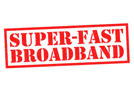 fiberoptic: SUPER-FAST BROADBAND red Rubber Stamp over a white background.