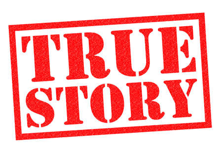 legitimate: TRUE STORY red Rubber Stamp over a white background.