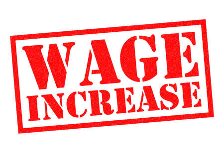 richer: WAGE INCREASE red Rubber Stamp over a white background.