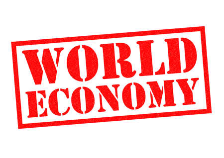 world economy: WORLD ECONOMY red Rubber Stamp over a white background.