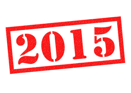 last year: 2015 red Rubber Stamp over a white background. Stock Photo