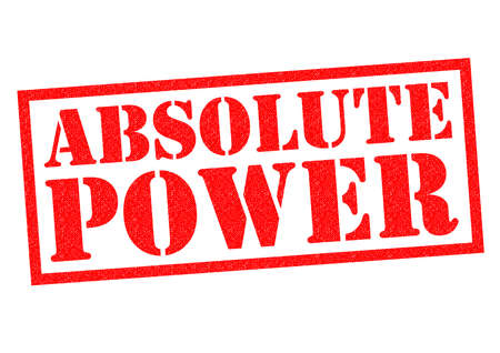 absolute: ABSOLUTE POWER red Rubber Stamp over a white background.