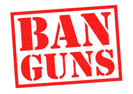 banning the symbol: BAN GUNS red Rubber Stamp over a white background.