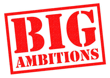 ambitions: BIG AMBITIONS red Rubber Stamp over a white background.