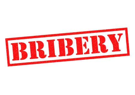 breaking law: BRIBERY red Rubber Stamp over a white background.