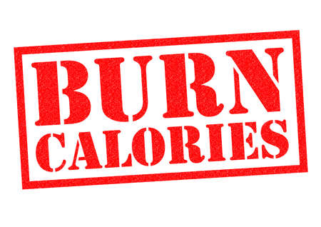 burn: BURN CALORIES red Rubber Stamp over a white background.