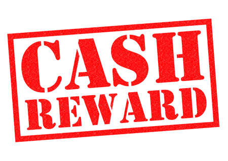 rewarding: CASH REWARD red Rubber Stamp over a white background.