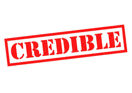 credible: CREDIBLE red Rubber Stamp over a white background.