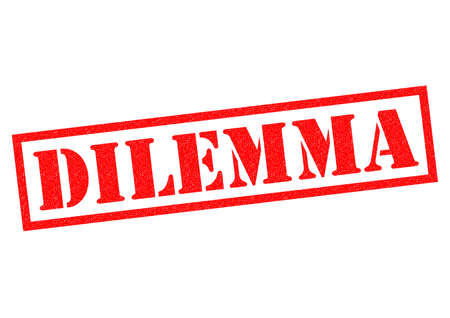 dilemma: DILEMMA red Rubber Stamp over a white background.