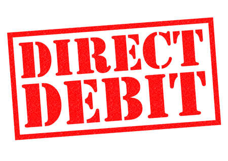debit: DIRECT DEBIT red Rubber Stamp over a white background.