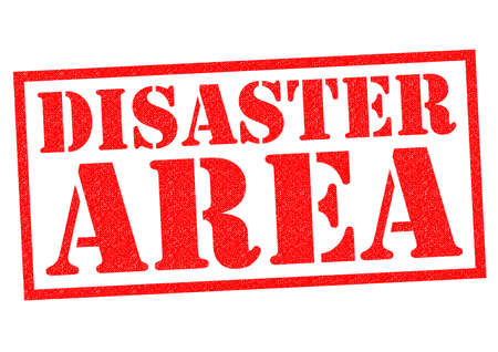 DISASTER AREA red Rubber Stamp over a white background. Stock Photo