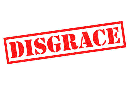 disgrace: DISGRACE red Rubber Stamp over a white background.