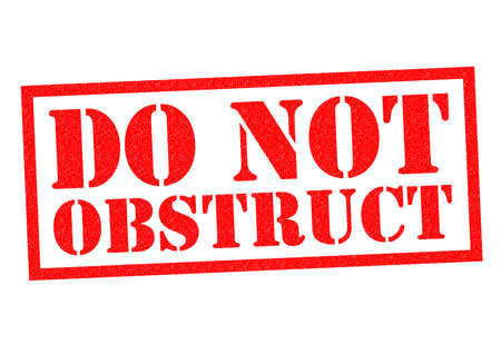 obstructive: DO NOT OBSTRUCT red Rubber Stamp over a white background. Stock Photo