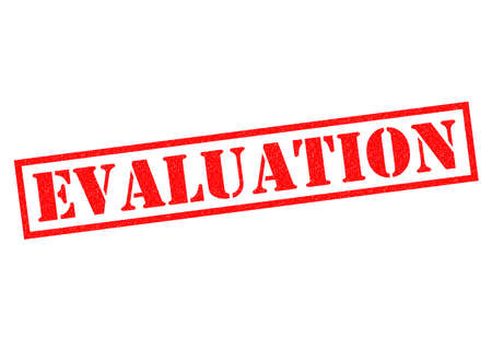 assess: EVALUATION red Rubber Stamp over a white background. Stock Photo