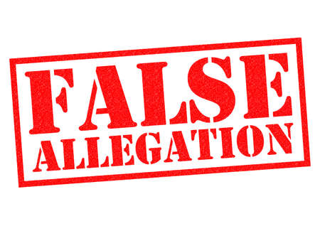 FALSE ALLEGATION red Rubber Stamp over a white background.