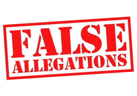 FALSE ALLEGATIONS red Rubber Stamp over a white background.