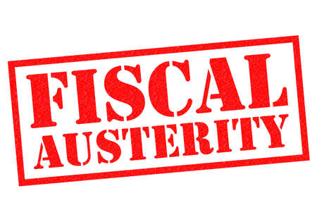 budgetary: FISCAL AUSTERITY red Rubber Stamp over a white background.