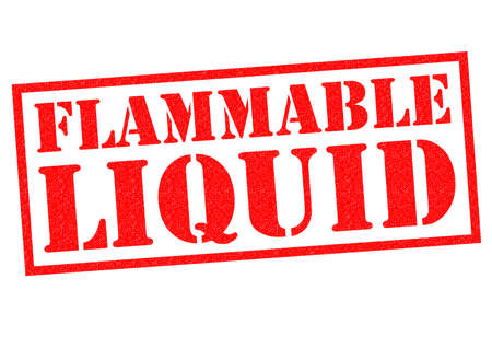 burnable: FLAMMABLE LIQUID red Rubber Stamp over a white background.